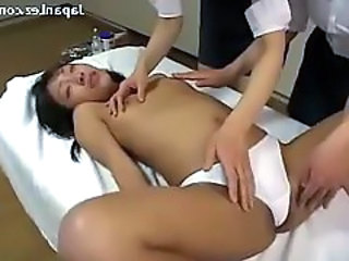 Slim Girl In White Panty Squirting Having Orgasm While 2 Masseuse Girls Fingereing Her Pussy Sucking Nipples