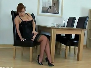 Red Head Fucks Herself With Her High Heels