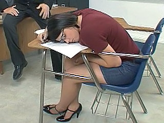 Teacher Sleeping Brunette Glasses Jeans School Skirt Jeans Ass  School Teacher Sleeping Brunette