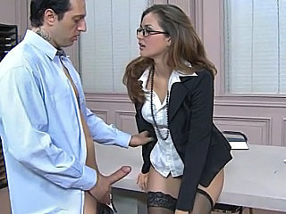 Secretary Glasses Clothed Stockings Brunette Office Stockings