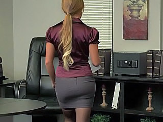 Pantyhose Solo Uniform Office Blonde Office Pussy Pantyhose