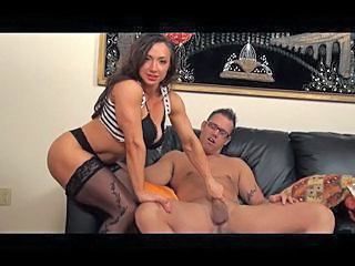 Muscled Brunette Handjob Milf Stockings Stockings