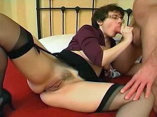 Pierced Milf in Stockings Gaping...