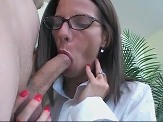 Office Blowjob Brunette Glasses