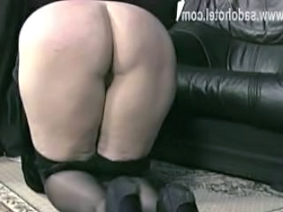 Precooked nun with her panties upon got spanked and got humiliated on her bore by older priest