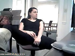 Secretary Nora masturbates at her work