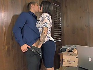 Office Handjob Brunette Kissing