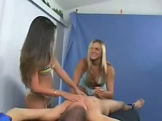 2 girls give bound guy CFNM...