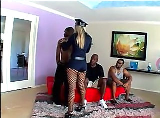 Gangbang Interracial Uniform Fishnet Fishnet Police