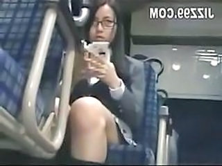 Schoolgirl seduced leg fucked by geek on bus