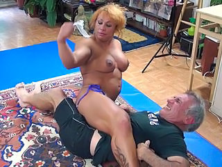Muscled Older Mature Tattoo Wrestling