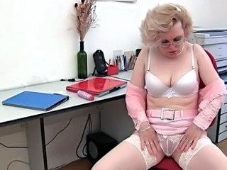 Dildo Glasses Lingerie Mature Ass Blonde Mature Stockings