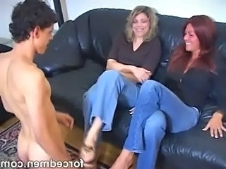 Naked slave worships clothed mistresses legs and feet free