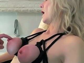 nipple stretching torture extrem with Nylon Slave Lady Avery