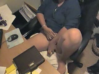 Spy cam caught my mom masturbating at computer