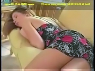 Sleeping brunette beauty wakes  ... free