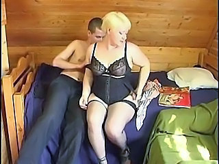 Russian boy fucking a plumper mature