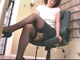 Secretary Glasses Skirt Dildo Milf Milf Ass Milf Stockings