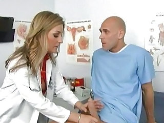 Lusty blonde doctor jerks off her patient's big bone3r