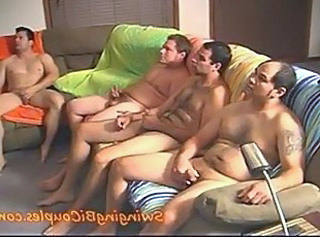 5 BI GUYS and 1 CUM eating WIFE _: bisexuals cream pie swingers