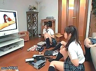 Four cute Japanese girls exploring their