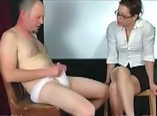 Man in panties punished by teacher _: femdom handjobs spanking