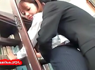 Office Lady Getting Her Pussy Rubbed With Cock Giving Blowjob For Guy In The Office