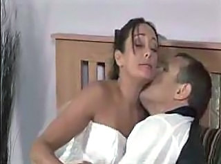 Sweet bride in white stockings is so desired and hot for her husband.