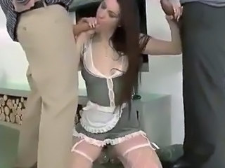 Beautiful maid likes porn all over 2 boys