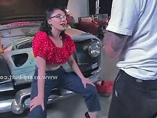 Brunette Slut In Car Workshop Sucking Cocks And Getting Spanked B