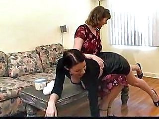 Brunette Spanked By An Older Woman