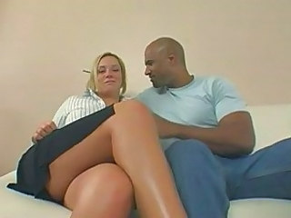 Buxom blonde on black dick