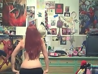 redhead dancing - bottoms up