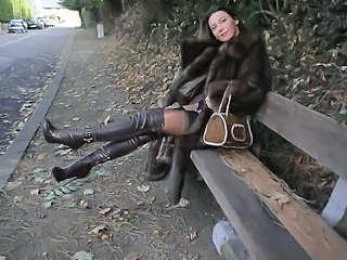 exhibitionist: nude under luxe fur coat & vintage garterbelt