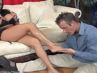 Hot Footjob On Cock - Fetish sex video -