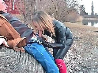 Video from: empflix | leather shemale doing bj outdoors
