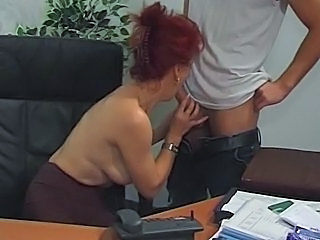 Hot Euro Mature Redhead Bangs In Office
