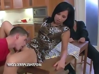 Cuckold wife sucking dick in front of her husband