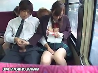 Schoolgirl forced handjob in a bus