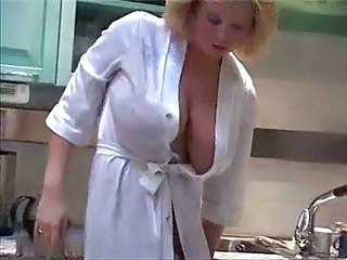 Mother In Her Kitchen Teasing Big Tits
