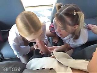 Two blonde teens are on the bus and have a suck and fuck threesome