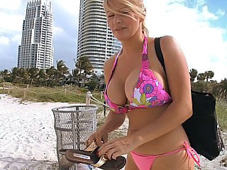 Busty Russian and two assholes
