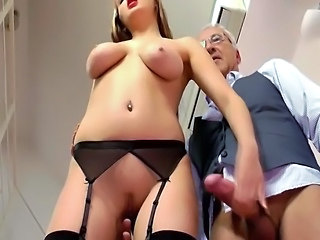 Video from: tnaflix | A sexy young British slut is being drilled by old sir's cock