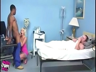 white bitch fucks black doctor  in front of bf and get deep cream pie then...
