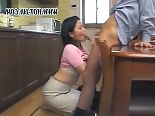 Wife Kitchen Clothed Asian Mature Blowjob Japanese Blowjob Mature