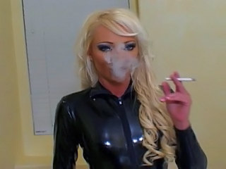 Latex Blonde Fetish MILF Smoking