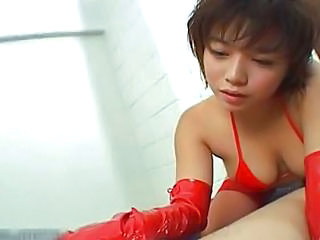 Latex Handjob Japanese Asian Babe Handjob Asian Japanese Babe