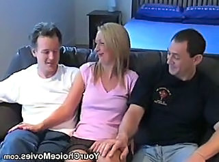 Dirty amateur housewife is fucked by 2 guys
