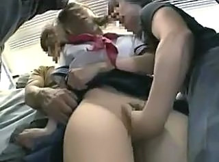 Shy Schoolgirl gangbanged in a public train _: gangbang public nudity teens