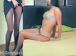 Skinny office lady in pantyhose rides a feeldoe _: lesbians lingerie strapon